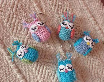 Crochet Owl Keychain Cute Animal Keyring Handmade In Pink Green And