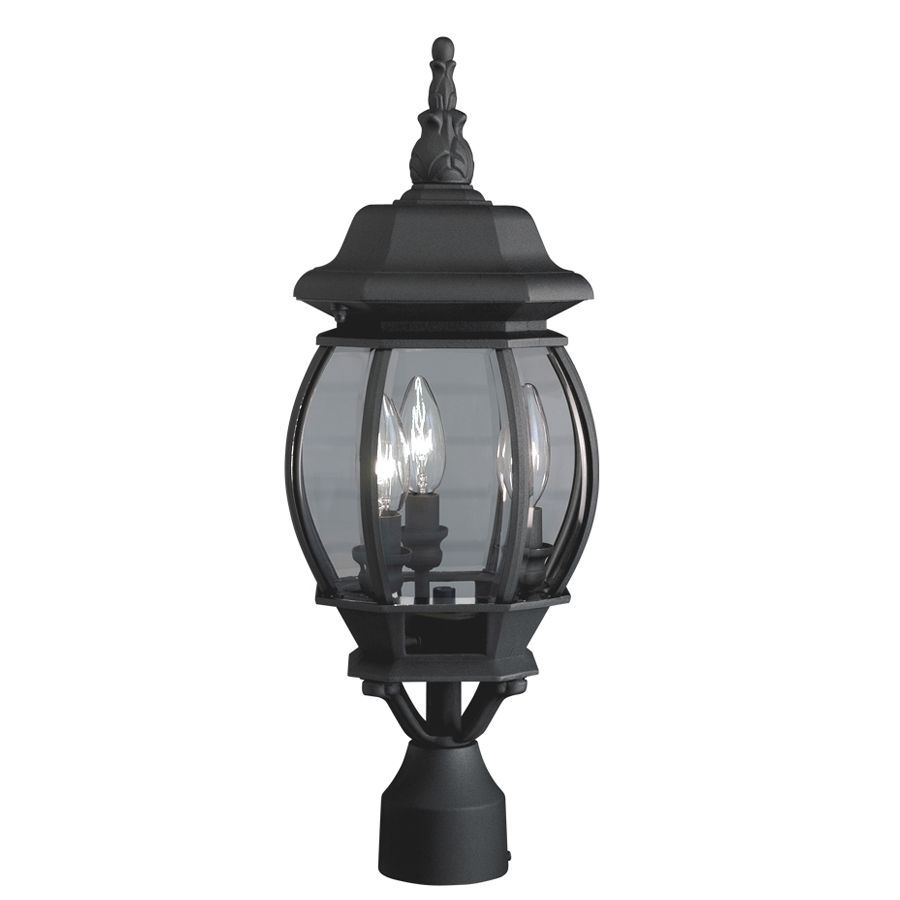 shop portfolio 21 34 in h black post light at lowes com on lowes paint sale today id=42097