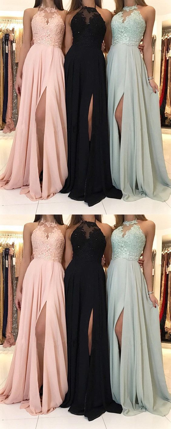 Charming lace halter long chiffon split evening gowns formal