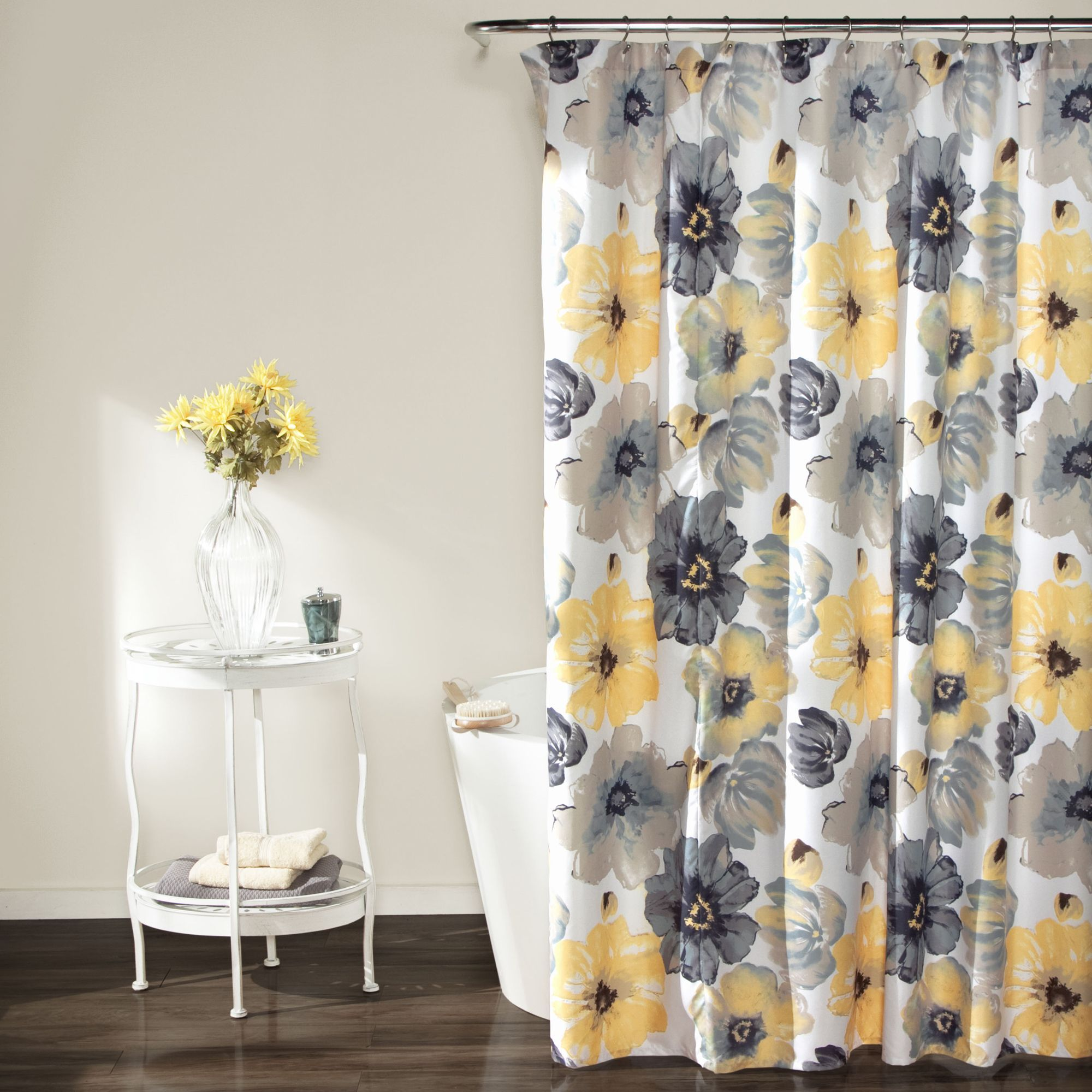 Lush decor leah shower curtain yellowgrey polyester floral