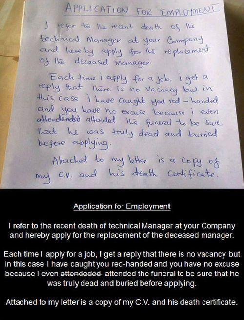 application for employment - (dead)(deceased)(job application - job application