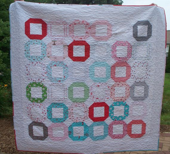 Modern Snowball Quilt for Baby / Toddler / Adolescent Girl in Pinks, Greens, Aquas, Reds, Grays, and White
