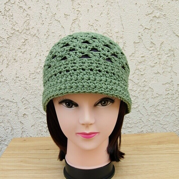 5f3169fdec5 Olive Green 100% Cotton Crochet Knit Summer Hat