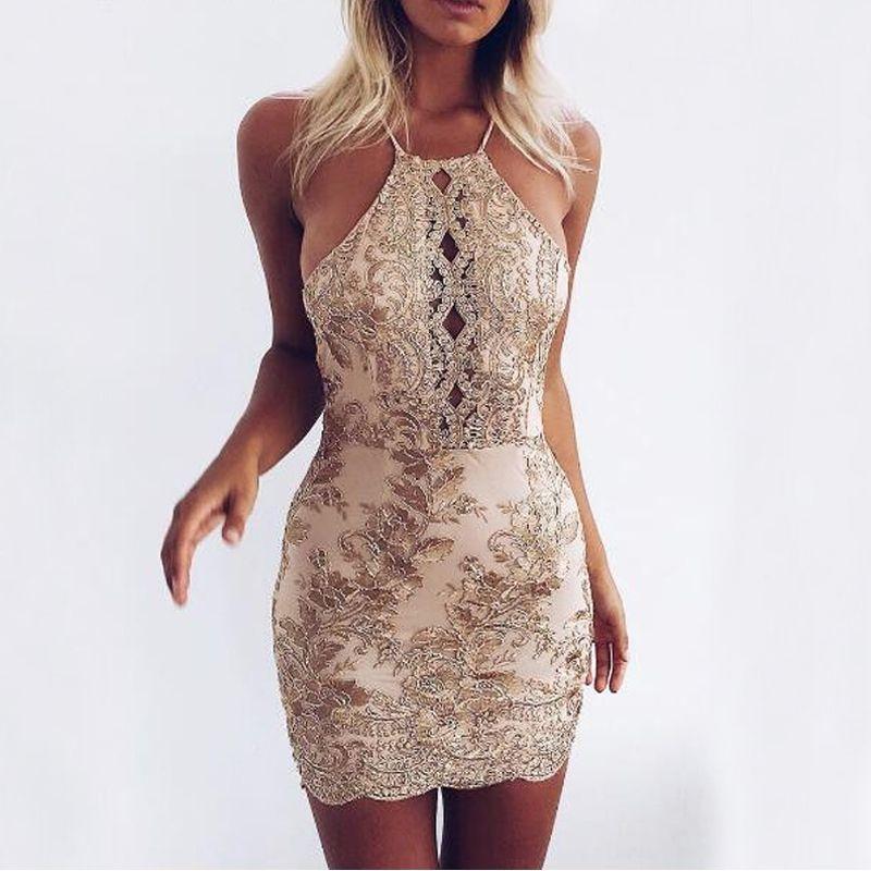 Fashion Summer Dress Womens 2017 Gold Thread Sleeveless Hollow Out Mini Club Party Dresses Ladies Slim Sexy Bodycon Short Dress