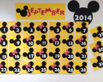 Kindergarten Preschool Disney School 2019 / 2020 Calendar Pocket Chart Cards Mickey Mouse