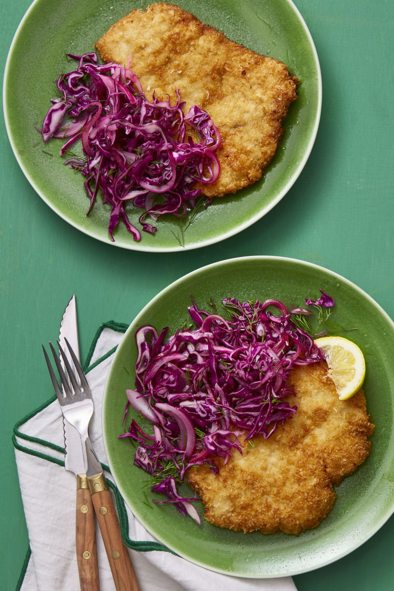 Pork Schnitzel with Red Cabbage and Caraway Salad
