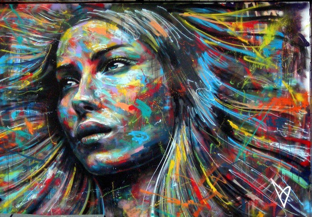 Banksy style colourful face david walker wall art canvas