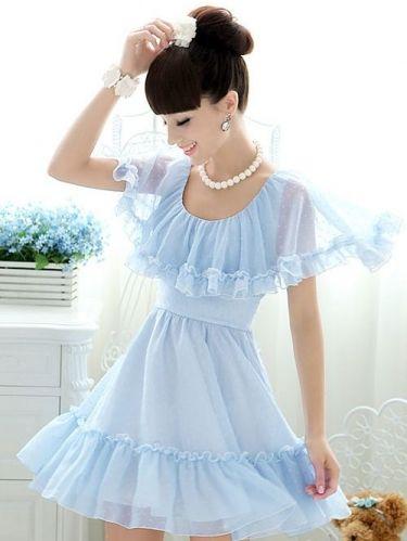 New Arrival Sweet blue chiffon  Dress (Sky,Blue)  -  stylishplus.com