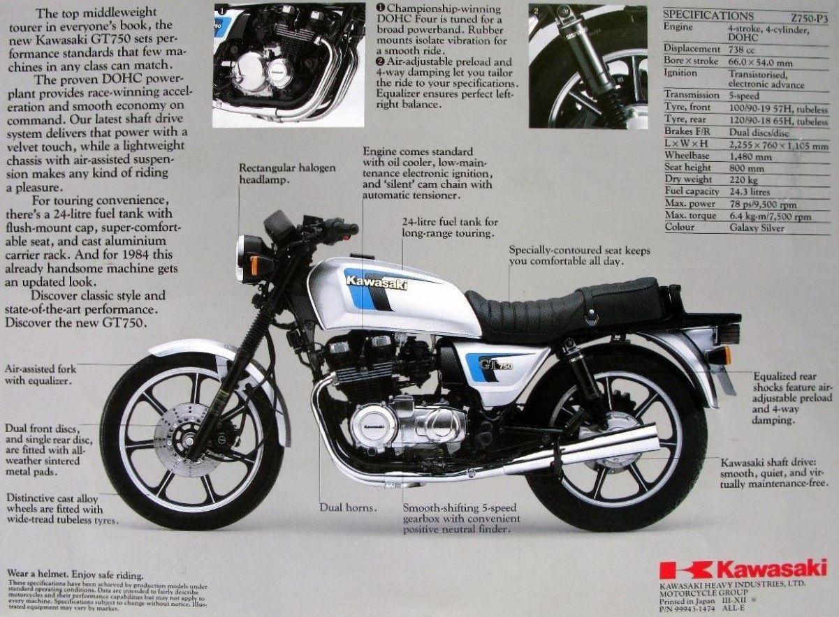 kawasaki gt750 specs id e d 39 image de moto. Black Bedroom Furniture Sets. Home Design Ideas