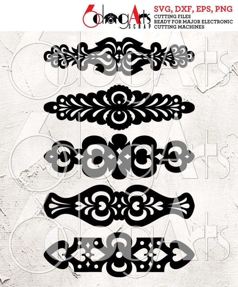 Photo of 5 Ornate Cuff Bracelet Leather Jewelry Templates Vector Digital SVG DXF Cut Files Cuttable Download Laser Cutting Cricut Maker JB-1092