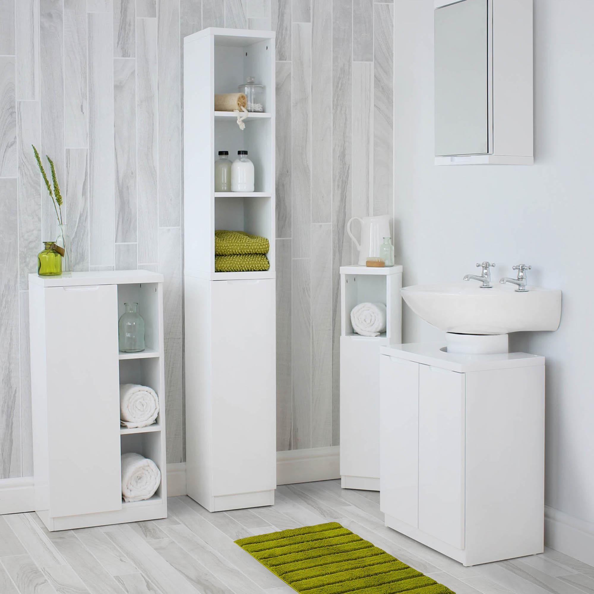 Siena White Console Unit In 2020 Bathroom Tallboy White Corner Cabinet Bathroom Wall Cabinets White