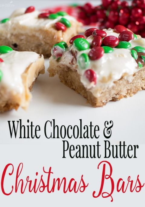 White Chocolate & Peanut Butter Christmas Bars!!!! These are absolutely incredible! They are now my favorite Christmas dessert to make! Seriously amazing cookie bars!