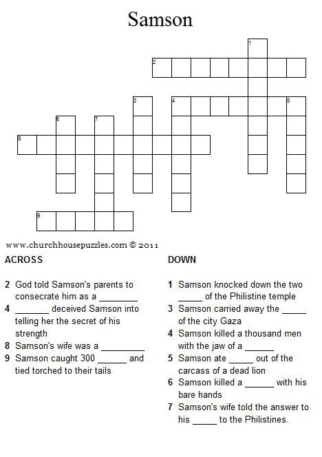 Samson Crossword Puzzle Mystery Of History Volume 1 Lesson