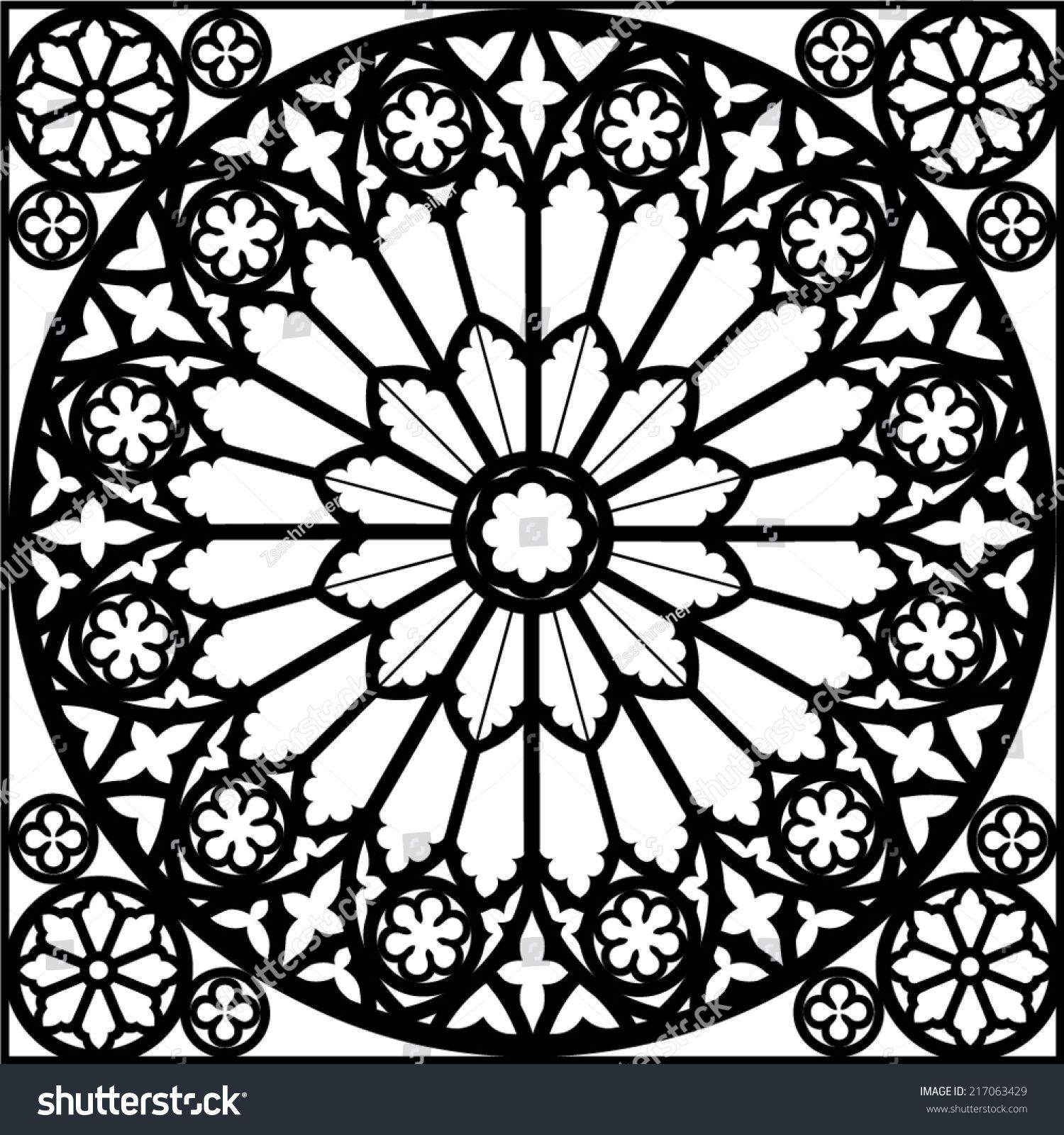 Silhouette Rose Window Gothic Vector Illustration Y Tưởng Hinh