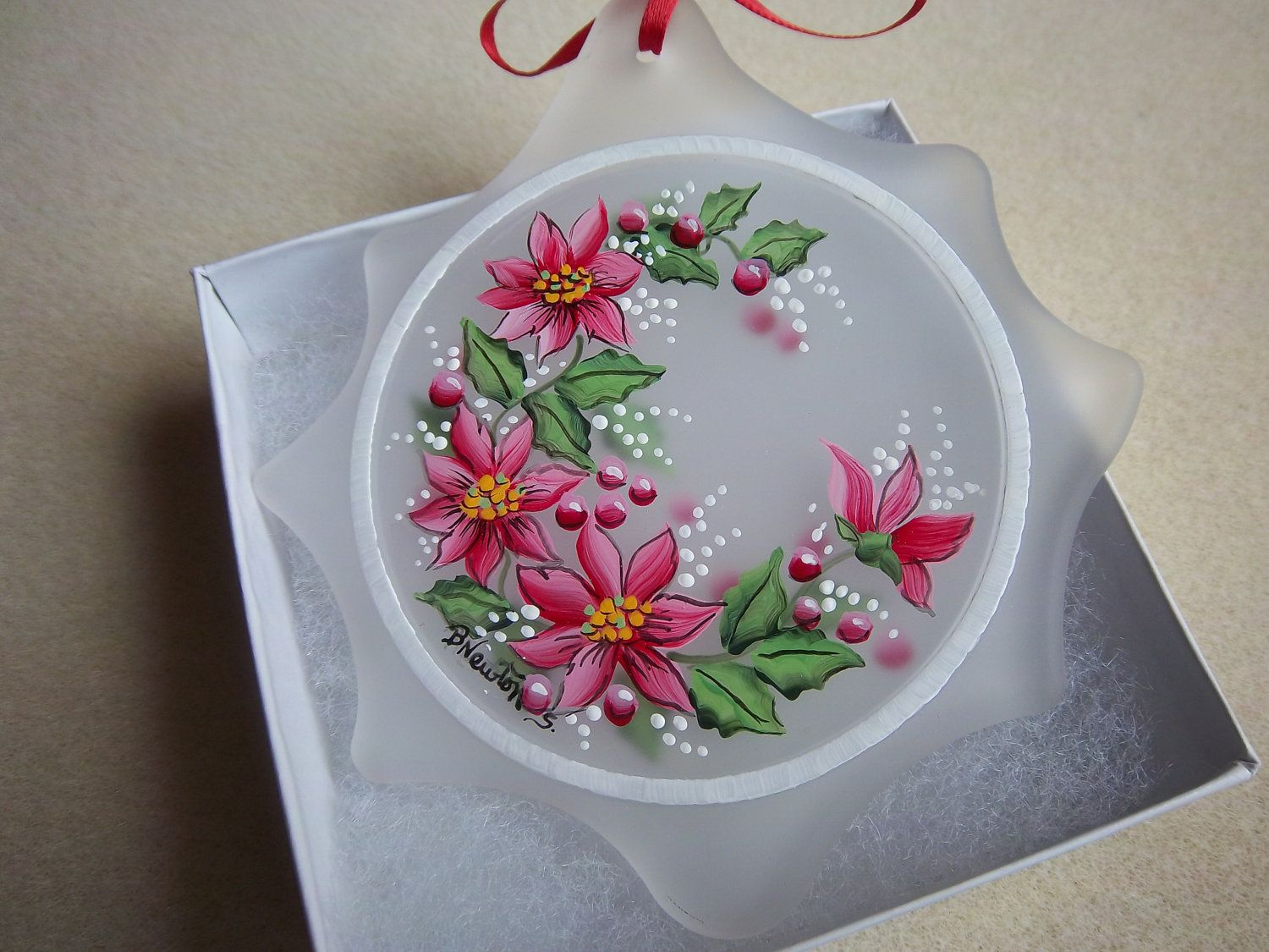 Flat glass ornaments - Satin Etched Flat Glass Ornament I Ve Hand Painted With Reddish Pink Poinsettia It S Painted On The Front And The Back Which Adds Dimension