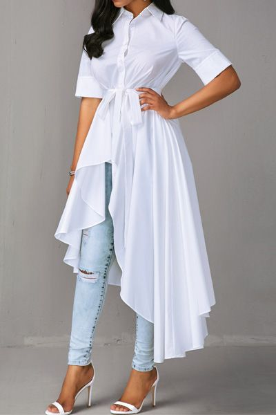 351daba94d0 Turndown Collar Short Sleeve White High-Low Shirt