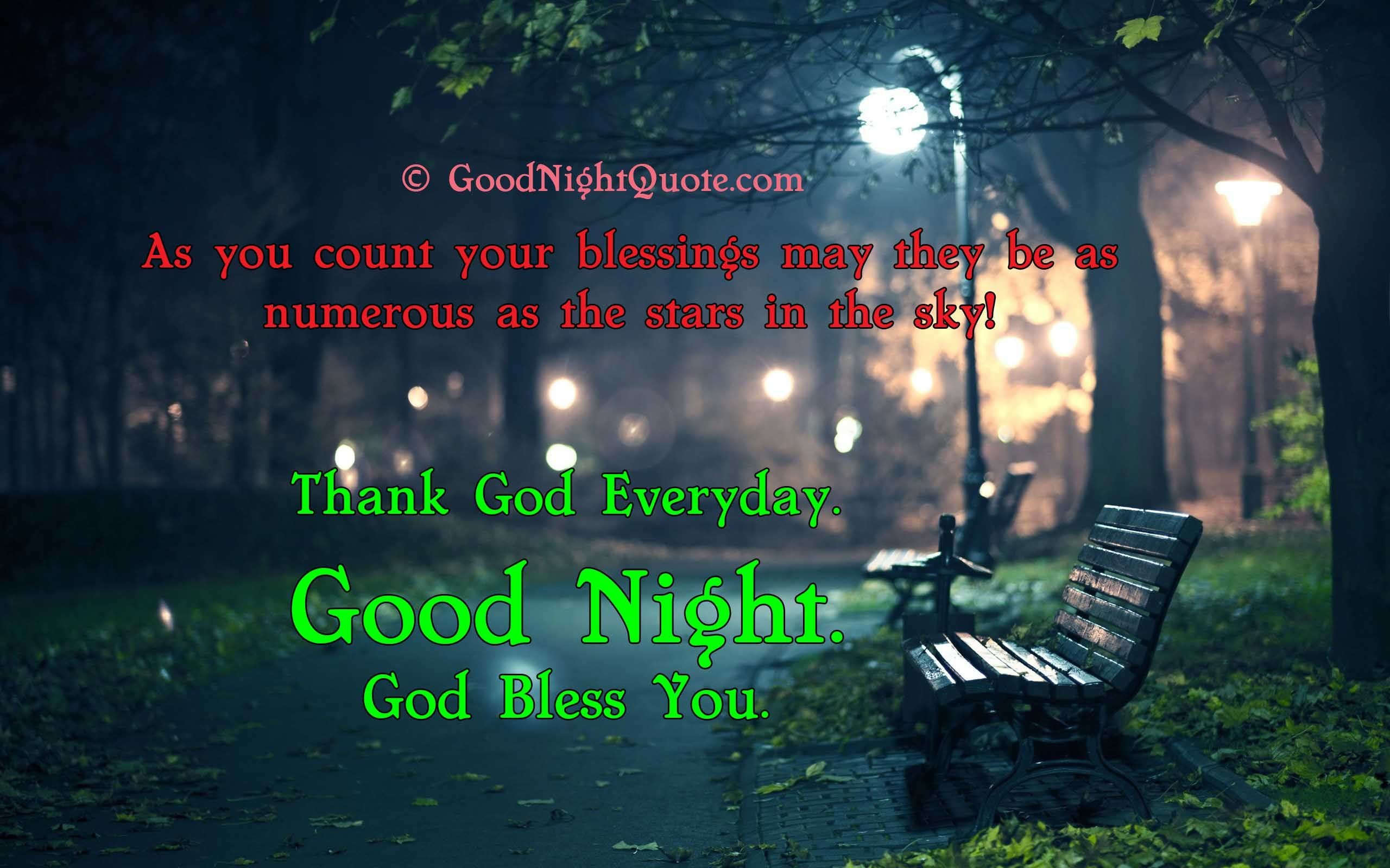 Good Night God Bless Quote Walk Park Hd Wallpaper