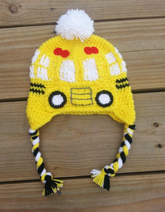 af31450a6f9 Bus Driver School Bus Earflap Hat Perfect by ArtofDomesticGoddess ...