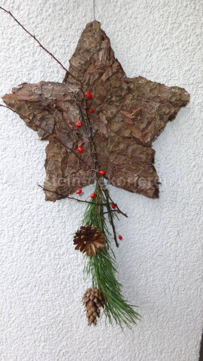 stern aus baumrinde als weihnachtsdeko zum aufh ngen weihnachten pinterest baumrinde. Black Bedroom Furniture Sets. Home Design Ideas