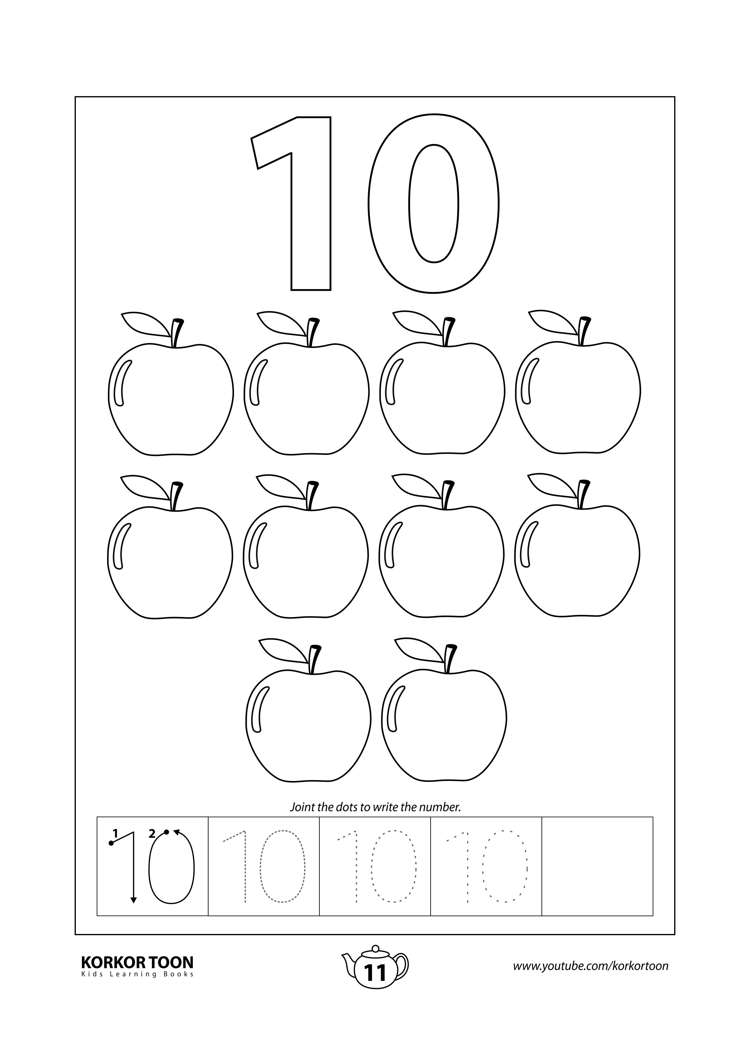 Numbers Coloring Book For Kids Number 10 Coloring Books Kids Coloring Books Printables Free Kids