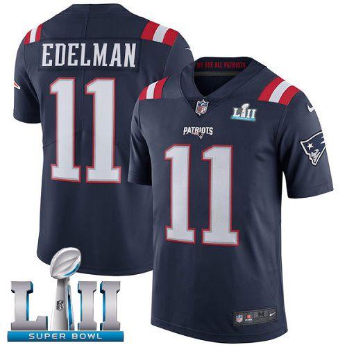 Men's Nike New England Patriots #11 Julian Edelman Navy Blue Super Bowl LII  NFL Vapor Untouchable Elite Jersey