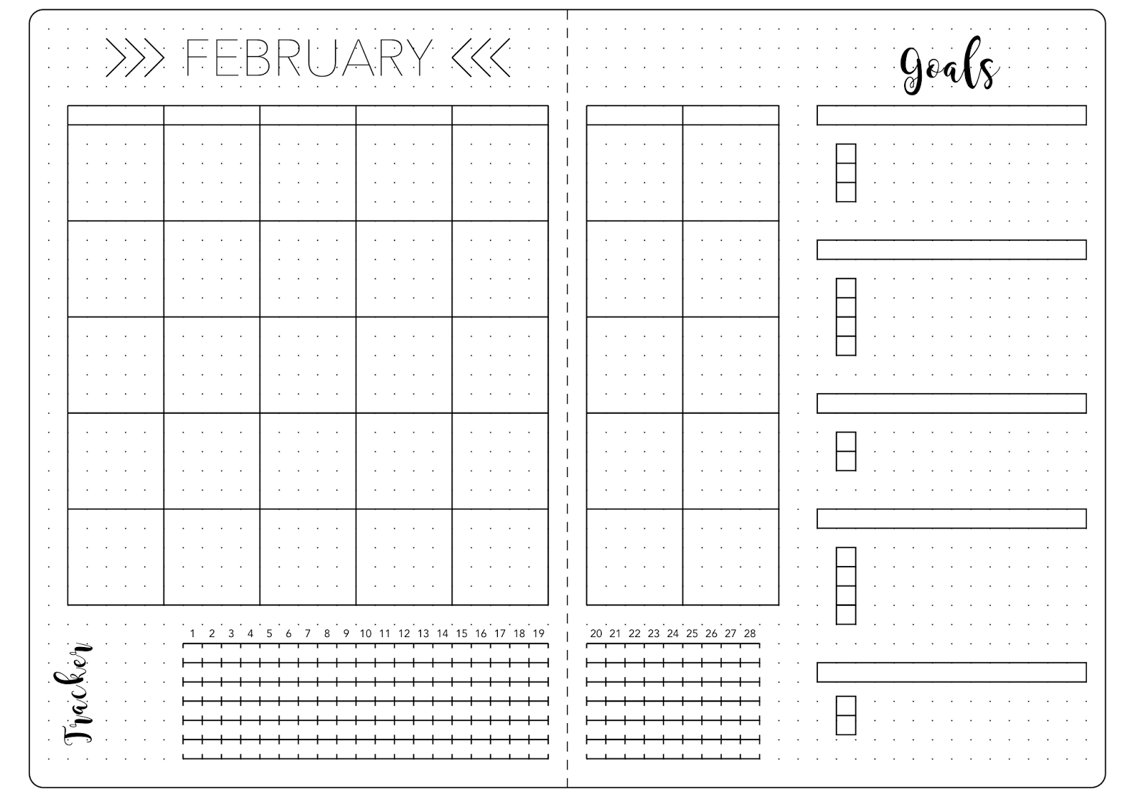 Bullet Journal February Set Up Template Bullet Journal Ideas