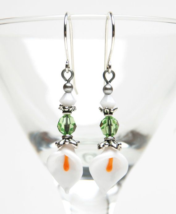 Calla Lily Earrings White Artisan Lampwork Glass by lilicharms