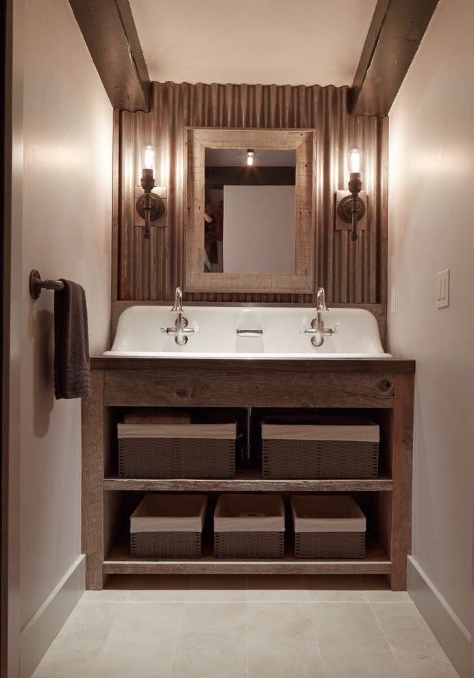 Kohler Brockway Bathroom Rustic With Barn Doors Bridge Faucets Corrugated Metal Wall August