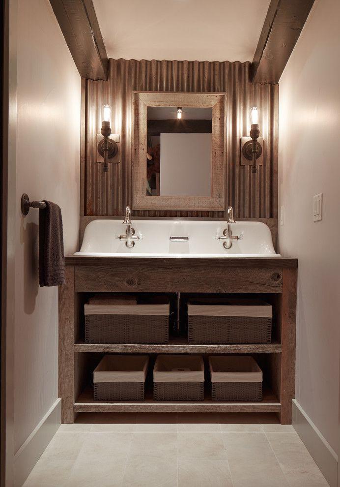 Kohler Brockway Bathroom Rustic With Barn Doors Bridge Faucets Corrugated Metal Wall August