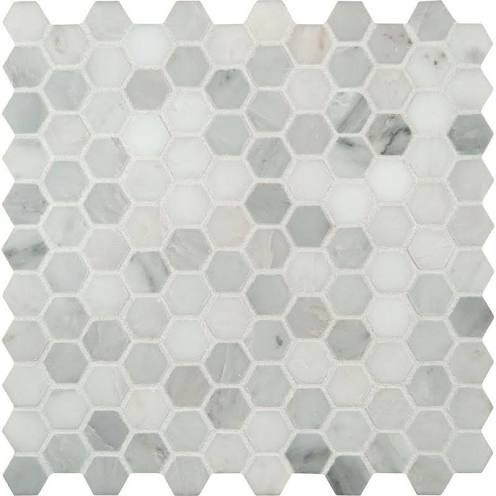 Grecian White Hex Tile Home Depot Mosaic Flooring Hexagon