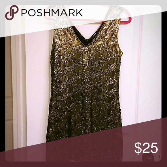 1a0e2d0b632 Black and gold sequin dress/tunic Express party dress. Gold inner lining  with black and gold sequins on top. Express Dresses Mini