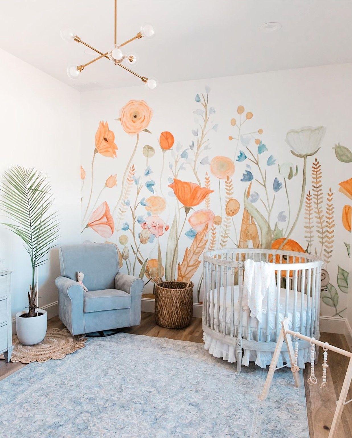 Wildflower Mural | Baby Room Decor, Kids Room Murals, Baby Girl Nursery Room