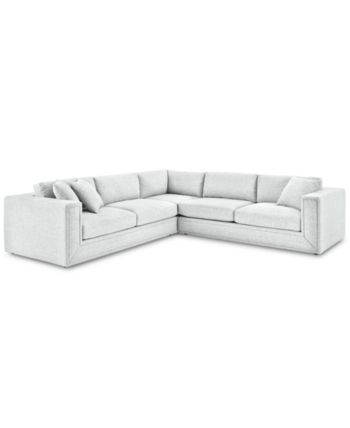 Dulovo 3 Pc Fabric Sectional Sofa Created For Macy S Tech Arctic White Fabric Sectional Sofas Fabric Sectional Sectional Sofa