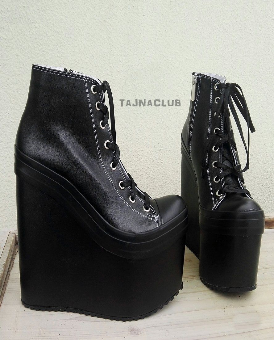 b707b7417269 Super High Heel Black Sneaker Wedges – Tajna Club