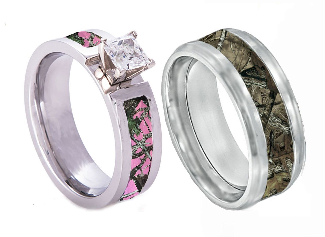 Pink Camo CZ Ring With Regular Camo Band Set Camo