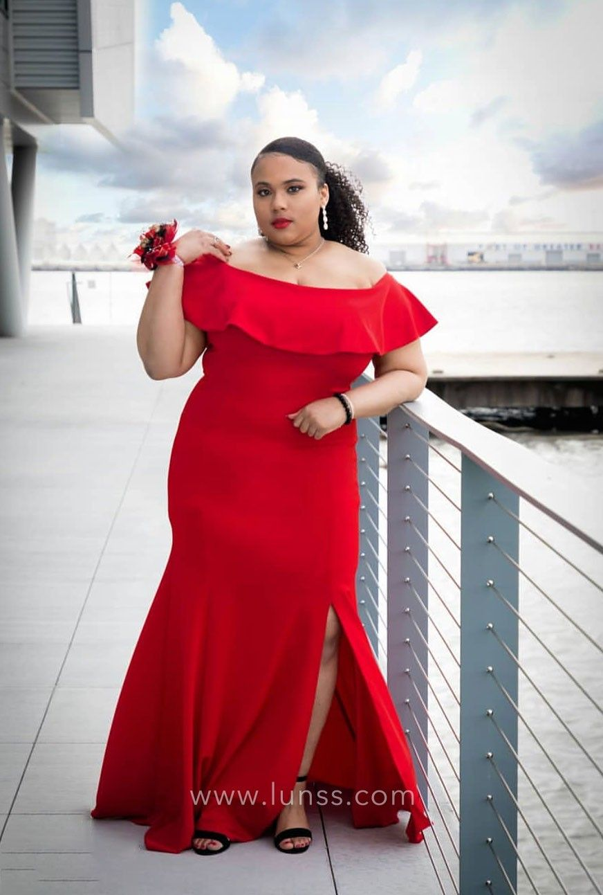 Pretty red satin plus size prom dress with side slit. Off-the-shoulder  folded neckline. 201a5131b6ec