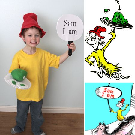Easy DIY Green Eggs and Ham costumes for Dr. Suess day - It's Always Autumn