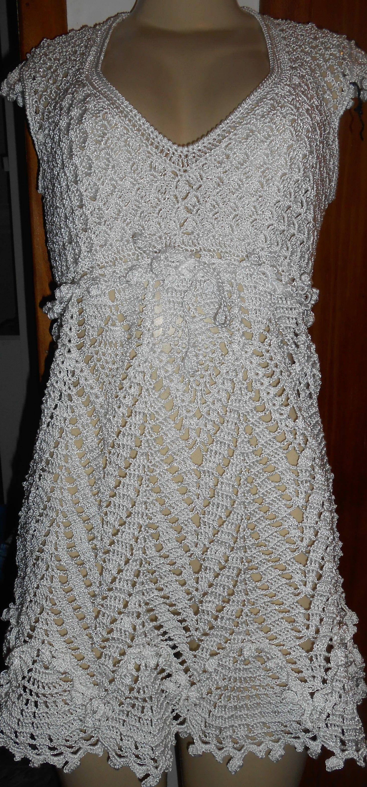 Vestido de croche branco