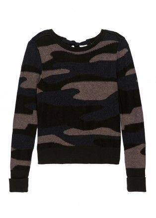 Camo Intarsia Sweater with Ties