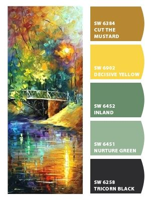 Paint colors from Chip It! by Sherwin-Williams. Artist - Leoni Afremov. ChipCard by Reni Apostolova.