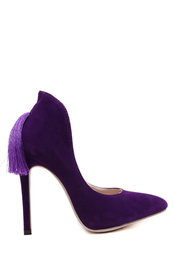 aa5c6b5a66330 Tassel Stiletto Suede Pumps