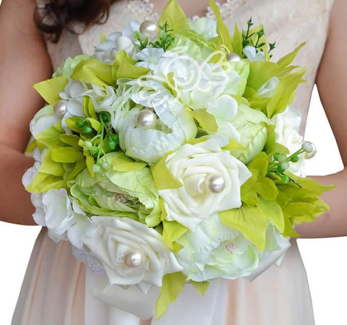 Click To Buy Artificial Flower Peony Hydrangea Bouquet Bridesmaid Bridal Beautiful