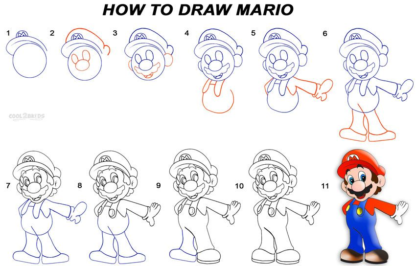 How To Draw Mario Step By Step Drawing Tutorial With Pictures