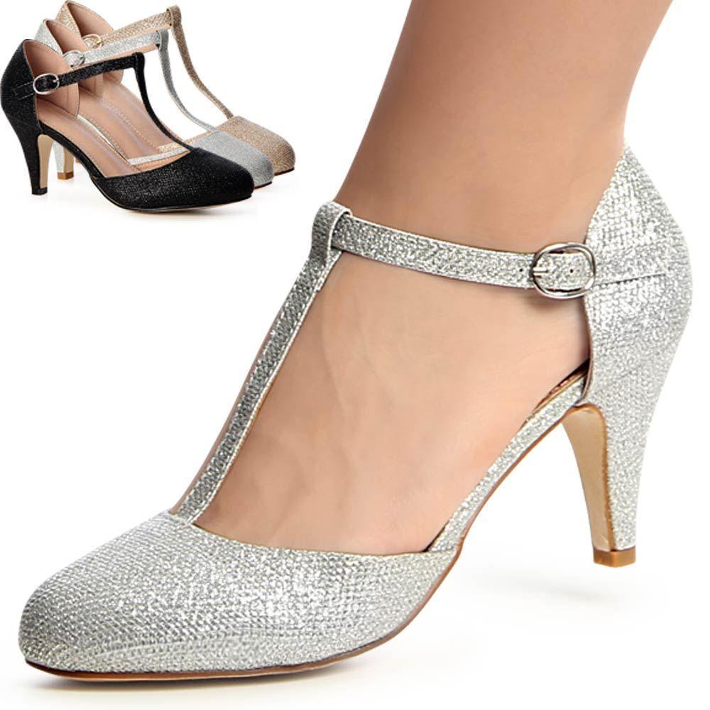 Zapatillas para Mujer grueso Mary Jane Zapatos Talla 3-8