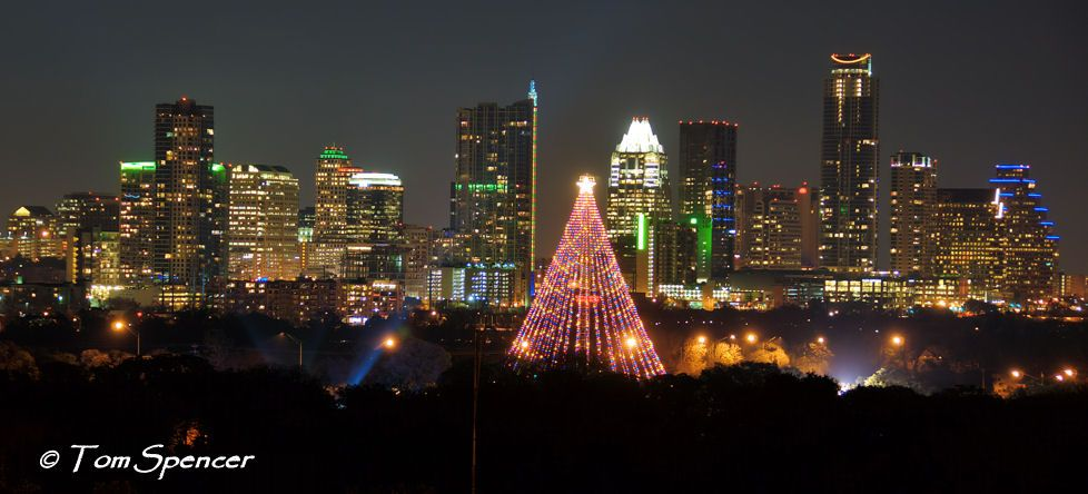 Marvelous Austin Christmas Tree Part - 7: Austin, Texas Downtown Skyline With Zilker Park Christmas Tree