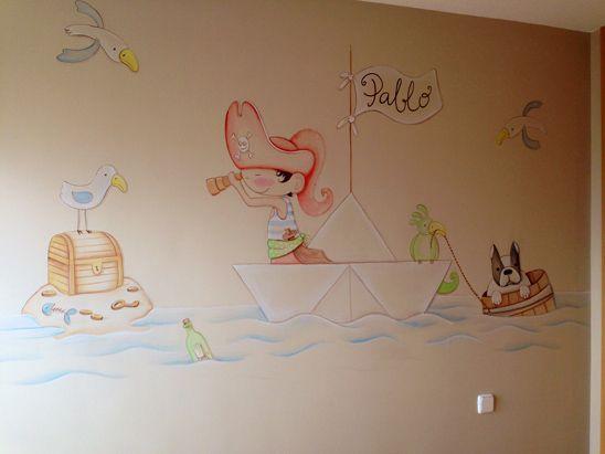 Mural de piratas pablo personalizado con el nombre del for Murales habitacion bebe