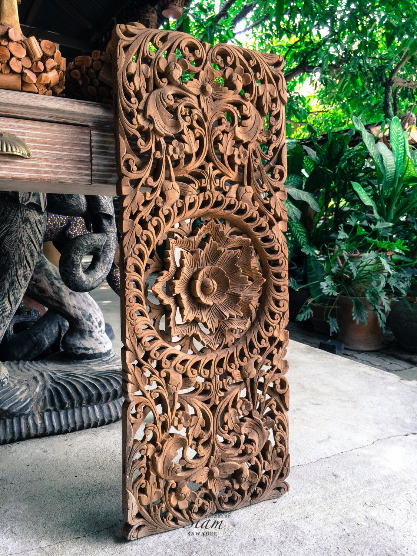 Natural carved bed headboard panel wall art sculpture thai teak