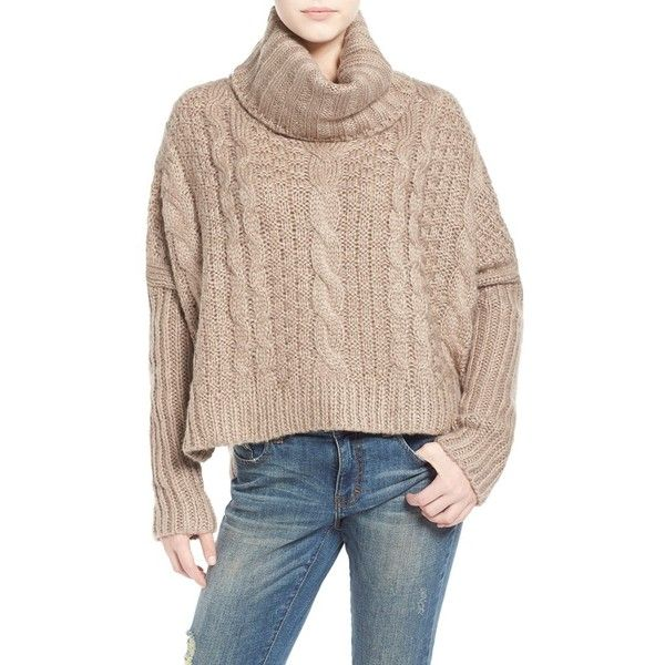 Junior Dreamers by Debut Cable Knit Turtleneck Sweater ($58) ❤ liked on Polyvore featuring tops, sweaters, mocha, oversized turtleneck sweater, chunky cable sweater, chunky cable knit sweater, turtle neck sweater i cableknit sweater