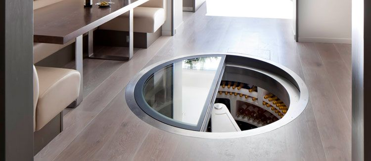 spiral cellar. pre fab in floor wine cellar with passive