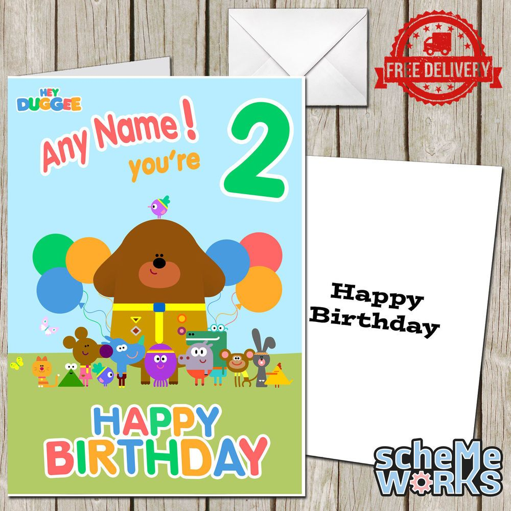 Hey Duggee Personalised Greeting Birthday Card Any Name CA034 – 2nd Birthday Cards